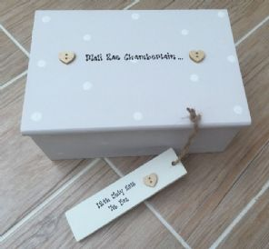 Handpainted Shabby Personalised Chic Newborn Baby Christening Jewellery Box Gift
